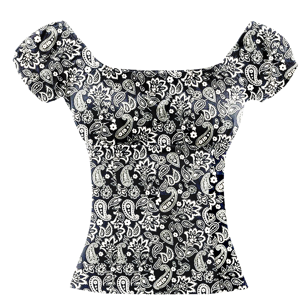 Ретро Винтаж 70s Пейсли рубашка Летний стиль уникальный Ретро дизайн рейв носить с открытыми плечами блузка богемный рокабилли одежда