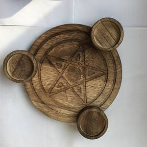 Ceremony-Accessories Altar-Plate Table Divination Astrology Pentacle Wood Wicca Triquetra