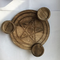 Astrology Pentagram wood Candlestick table Pentacle altar plate Triquetra wooden Divination Wicca ceremony Accessories