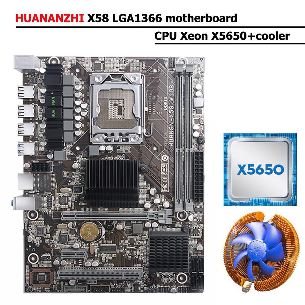 HUANANZHI X58 LGA1366 Motherboard Bundle Discount X58 Desktop Motherboard With USB3.0 Port CPU Xeon X5650 2.66GHz With Cooler