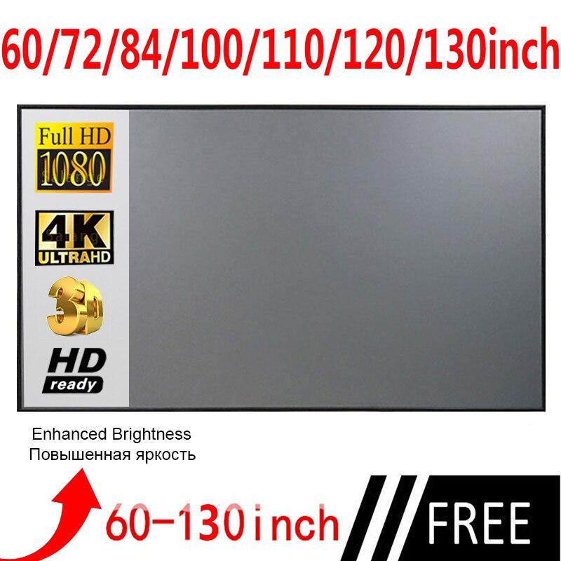 Проектор занавес анти-светильник экран 60 72 84 100 120 дюймов домашний офис портативный 3d HD экран проектора из отражающей ткани экран светоотраж...