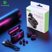 Floveme Bluetooth Wireless Earphone 3D Suara Stereo Olahraga Headphone TWS5.0 Mini Earbud Dual Microphone Headset + Pengisian Kotak(China)