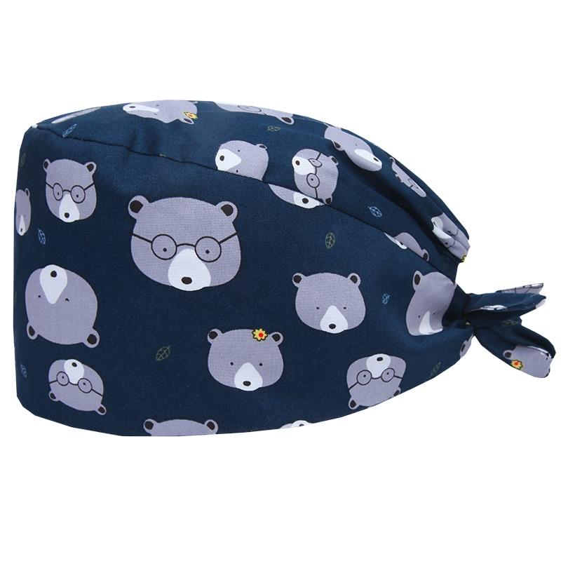Bear Surgical Caps Veterinary Work Hat Nurse Hospital Medical Skull Cap 100% Cotton Thin Chef Working Tieback Hats