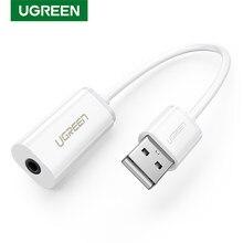 Ugreen karta dźwiękowa zewnętrzny Adapter USB 3.5mm USB do zestaw słuchawkowy z głośnikiem interfejs Audio do komputera PS4 karta dźwiękowa USB