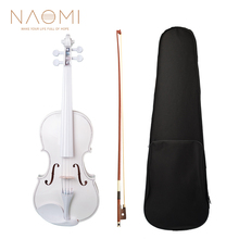Plastic Violin Basswood NAOMI White Case Beginner Fiddle 4-Strings with Bow for Student