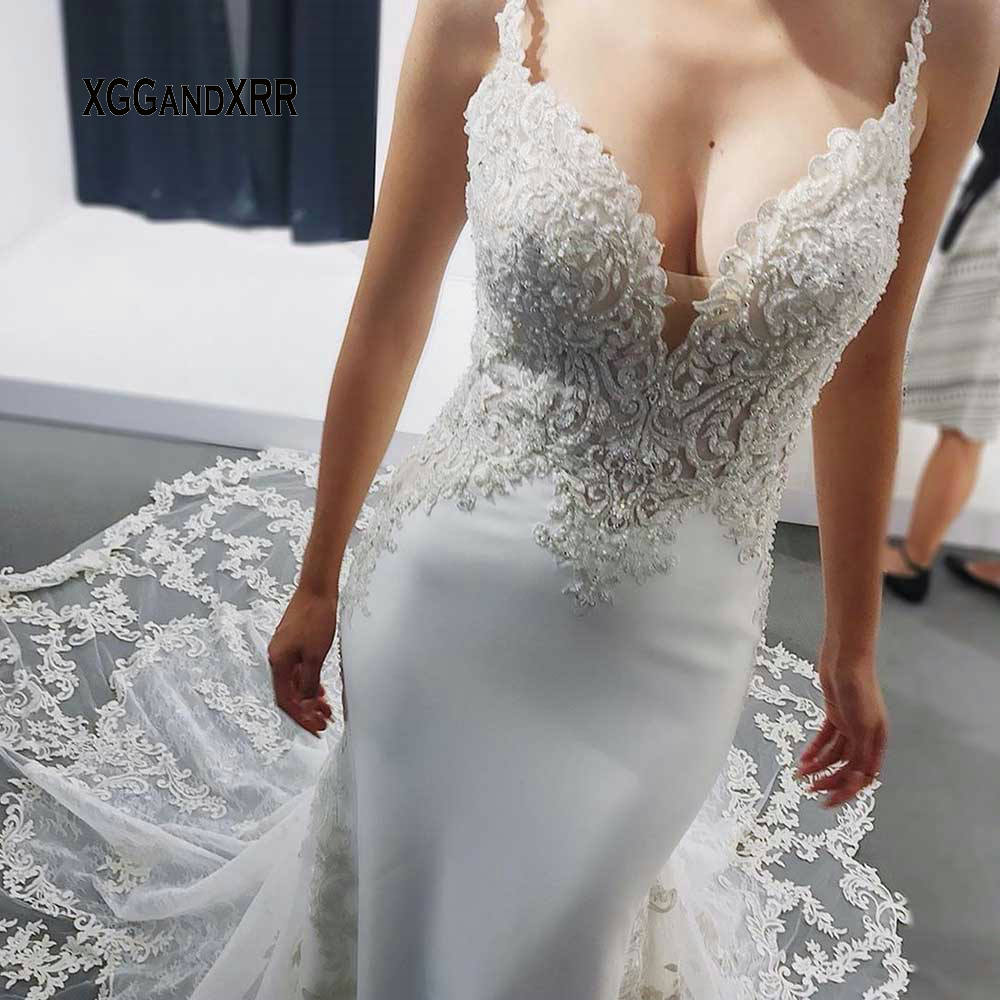 Sexy Mermaid Wedding Dress 2020 Luxury Bridal Gown Chapel Train Lace Applique Beading Long White Formal Dress For Bride Party