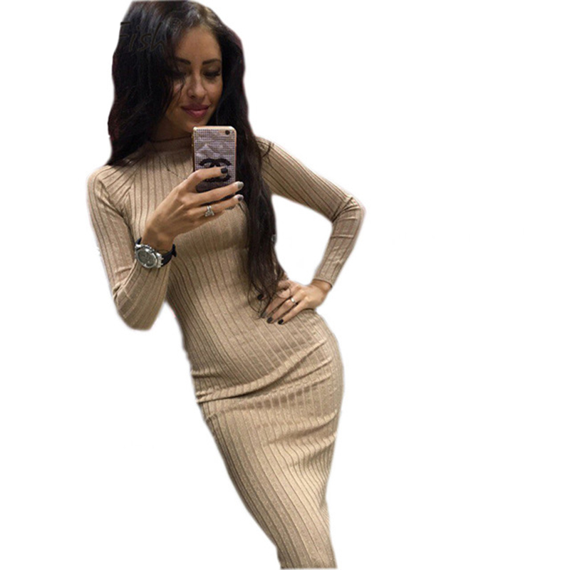 Knitted Women's Winter Autumn Dresses Robe Black Sexy Midi Sheath Slim Bodycon Dress Elegant Package Hip Long Sleeve Dress GV424