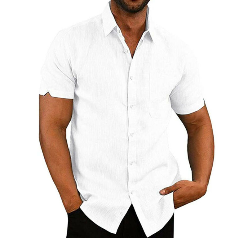 Mens Linen Blouse Short Sleeve Baggy Buttons Summer Solid Comfortable Pure Cotton And Linen Casual Loose Holiday Shirts Tee Tops 5