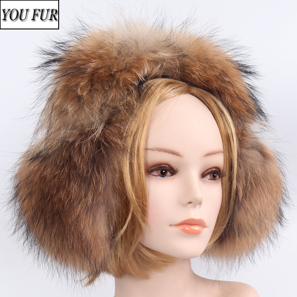 100% Natural Real Fox Fur Earmuffs Russian Women Luxurious Real Fox Fur Earflap Outdoor Girls Winter Handmade Real Fur Earlap