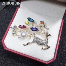 ZHBORUINI High Quality Natural Freshwater Pearl Brooch Deer Jewelry For Women Gift Accessories Christmas