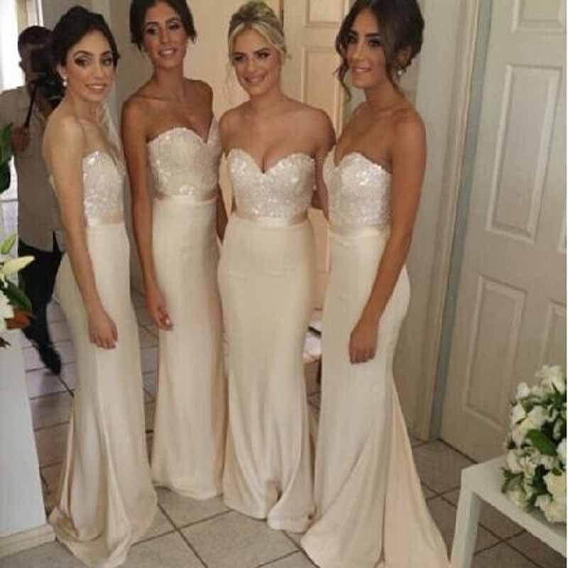 Elegant Sequined Sleeveless Mermiad   Bridesmaid     Dresses   Simple Sweetheart Neck Floor Length Satin Wedding Party Gown