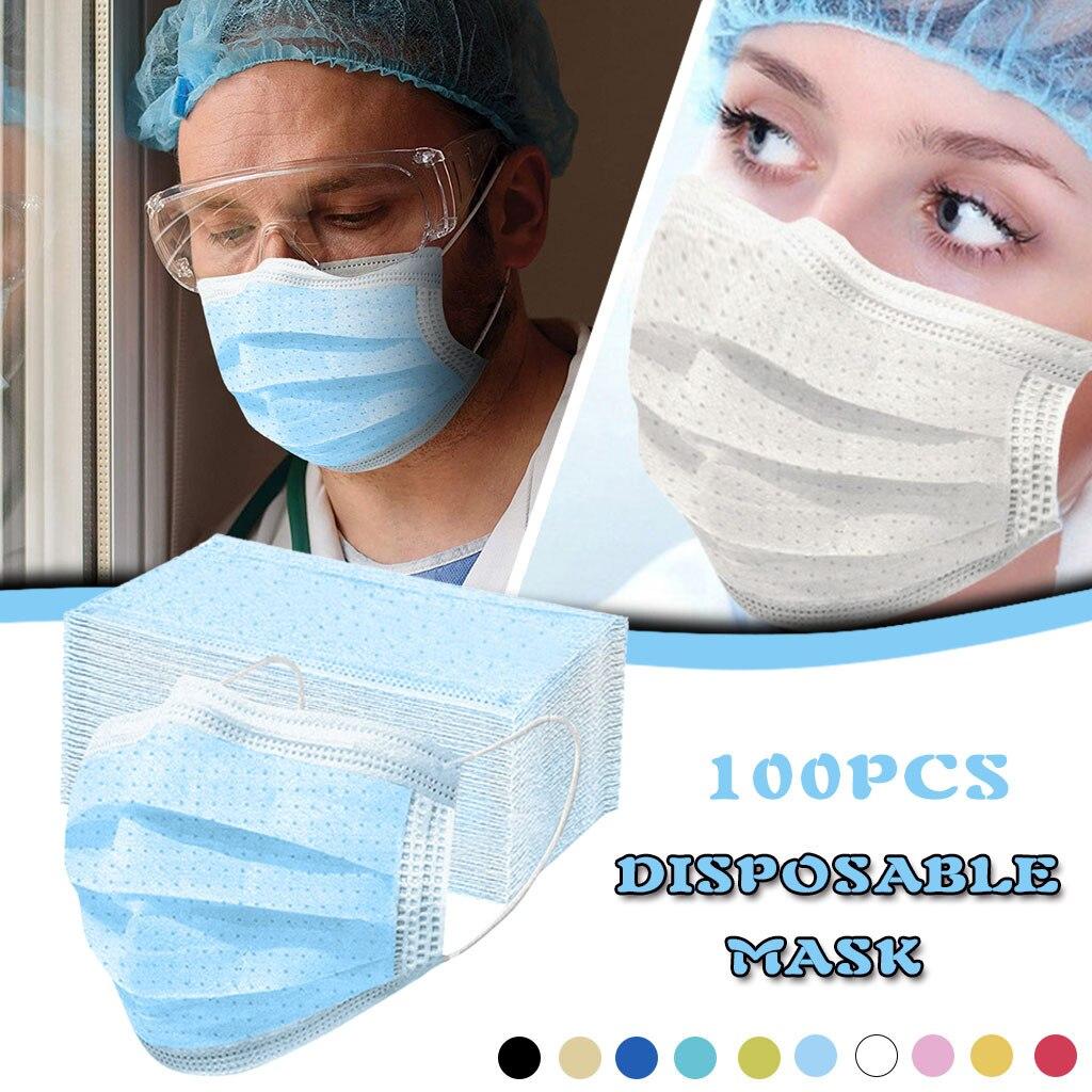 Мужская и женская маска для лица с защитой от пыли, 100 шт., воздухопроницаемая маска для рта|Женские маски|   | АлиЭкспресс