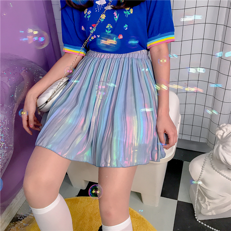 Women Spring New High Waist A-line Skirt Young Girl Student Summer Laser Short Skirt Gradient Blue Pleated Skirt College Style