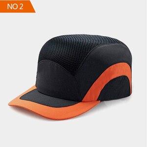 Image 2 - 安全バンプキャップ職場建設現場帽子と通気性ハード帽子ヘッドヘルメット反射ストライプ軽量