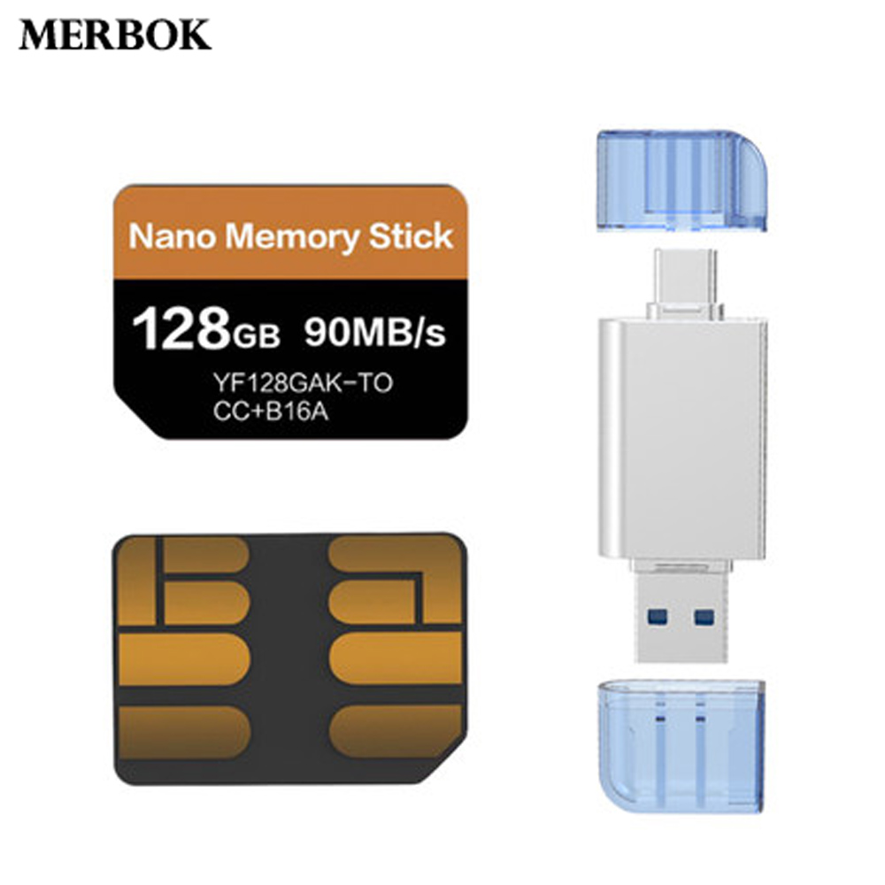 For Huawei Huawei P30 Pro Nano Memory Stick NM Card 128GB 90MB/S NM-Card With USB3.1 Gen 1 Type-C Dual Use TF/NM Card Reader
