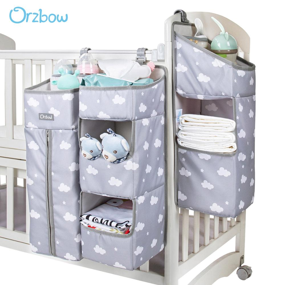Orzbow Baby Bed Organizer Hanging Bags For Newborn Crib Diaper Storage Bags Baby Care Organizer Infant Bedding Nursing Bags