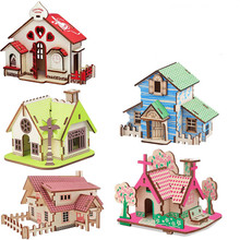 DIY 3D Mode  House Toys Kits Romantic Wood Puzzles Education Toy Model Building Wooden Puzzle for Kids and Adults