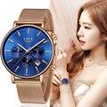 Lige top модный бренд класса люкс из розового золота, с синими наручные Повседневное модные женские туфли кварцевые часы подарок часы женские ч...