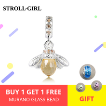 Strollgirl Cute Golden Bee Charm 925 Sterling Silver Pendant Charms Fit DIY Bracelet Beads For Women Valentines Day Gift New