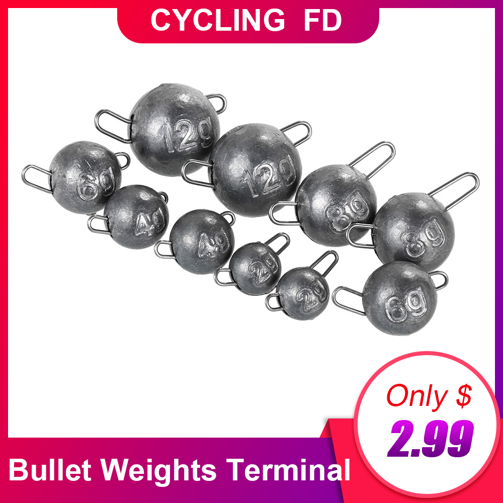 10PCS 2g/4g/6g/8g/12g Bullet Weights Terminal Tackle Fishing Tackle Jig Head Lead Sinker Bullet Weights Sinker Weight