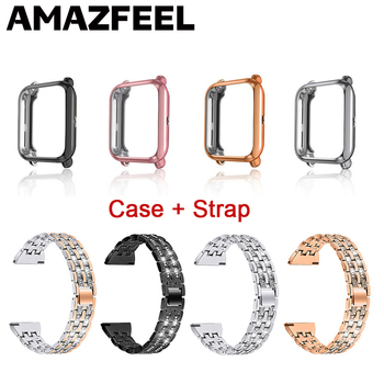 Strap For Amazfit Bip Band Metal Bracelet With Case For Xiaomi Huami Amazfit bip Bracelet Protector For watchband Accessories