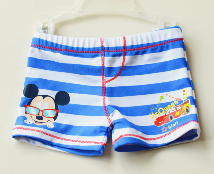Micro CHILDREN'S Swimming Trunks Small Children BOY'S Blue And White Wide Cartoon Mickey Car Swimming Trunks