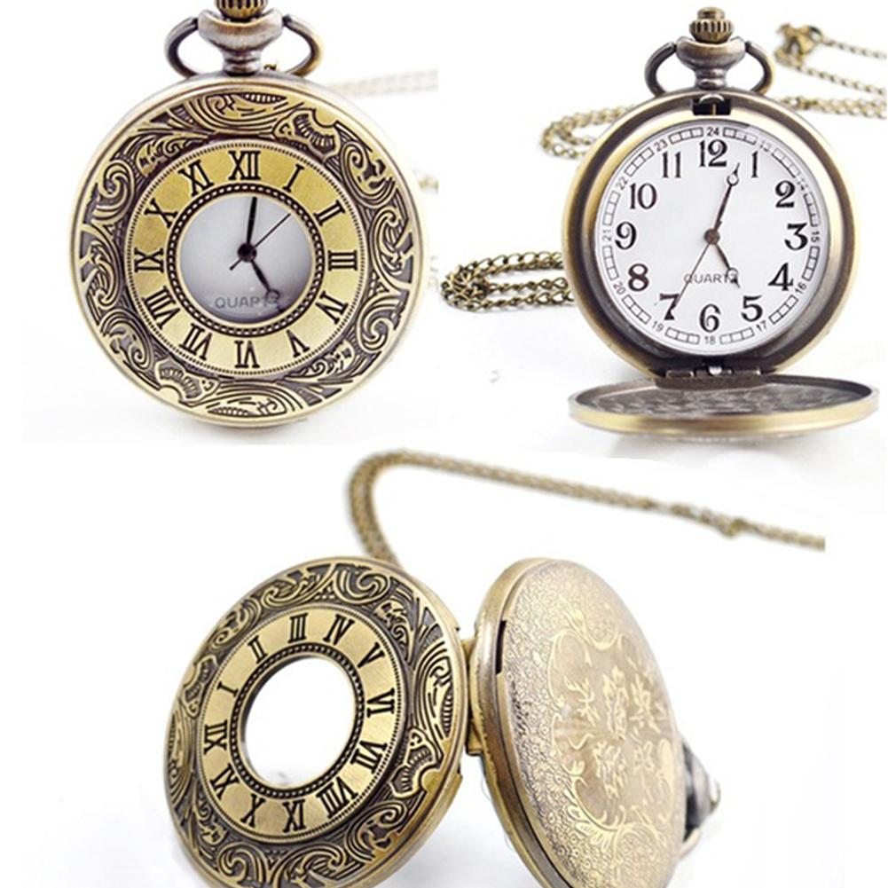 Vintage Unisex Round Dial Quartz Small Pocket Watches Roman Scale Watch Double Display Pocket Watch With Chain Giftfor Man Woman