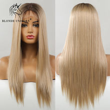 Blonde Unicorn Long Straight Synthetic Lace Part Hair Wigs Ombre Blonde For Black White Women Heat Resistant Fiber Daily Use