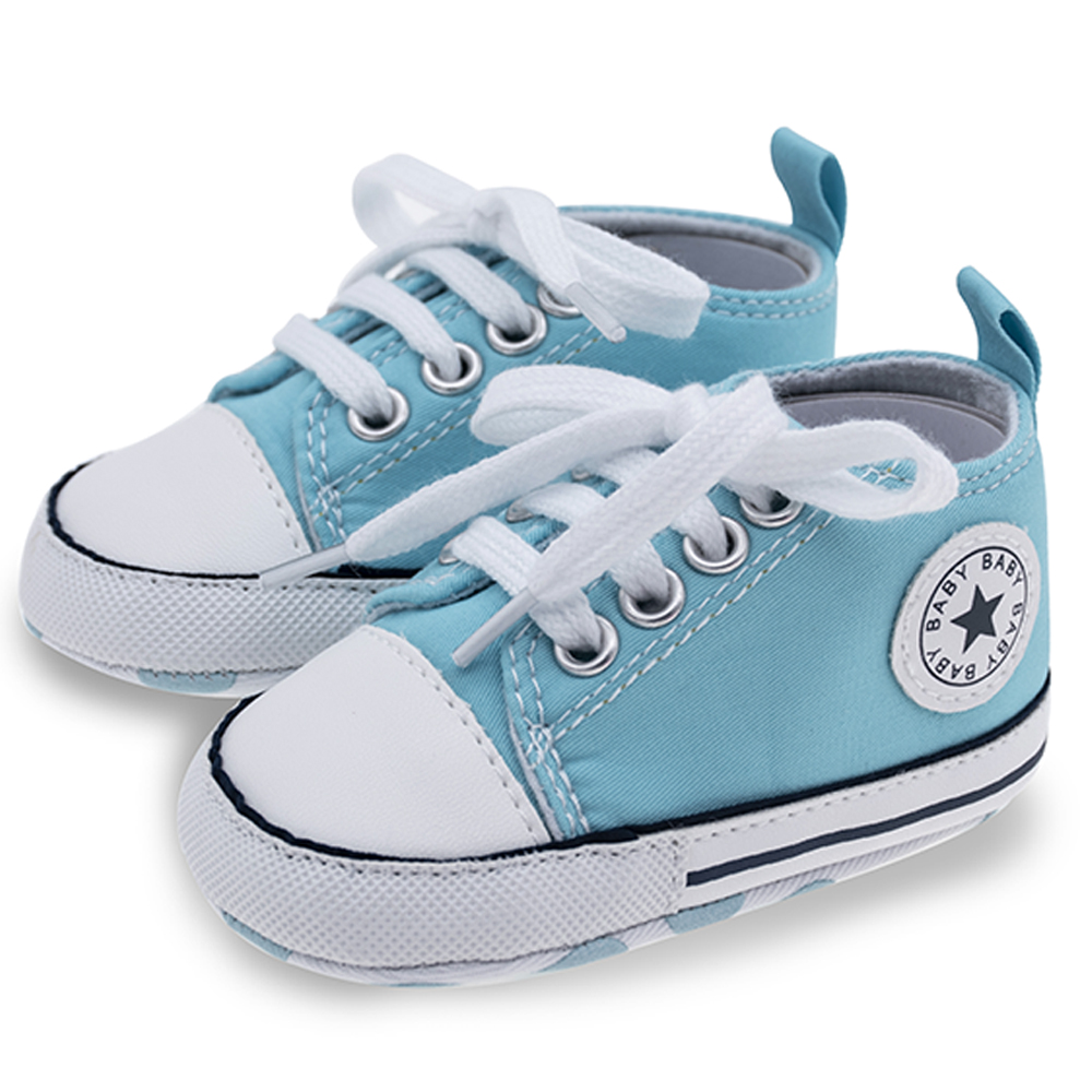 Baby Boy Shoes Unisex Sneaker Cotton Soft Anti-Slip Sole Sky Blue Newborn Infant First Walkers Toddler Casual Canvas Crib Shoes