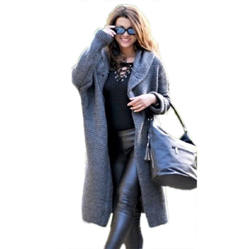 Women Autumn Fashion Thick Casual Solid Color Knitted Button Long Sleeve Hooded Midi Overcoat Solid Warm Trench Coats Gifts
