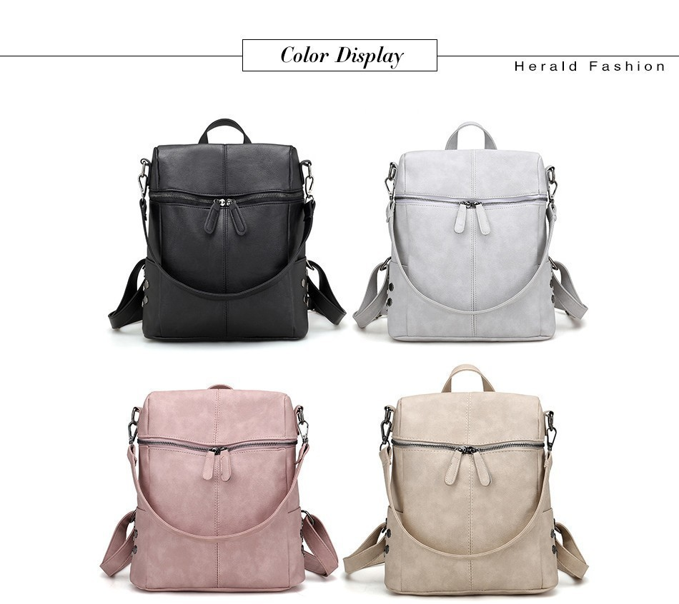 H7991f6e7ded04c50ab4c1af92923c412f Herald Fashion Women's PU Leather Backpack School Bags For Teenage Girls Large Capacity Backpack Laptop Bag Drop Shipping