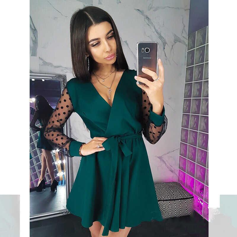 Sexy ceintures col en v robe de soirée femmes à manches longues dentelle Patchwork une ligne robe élégante 2019 automne femme Club robe de soirée Mini