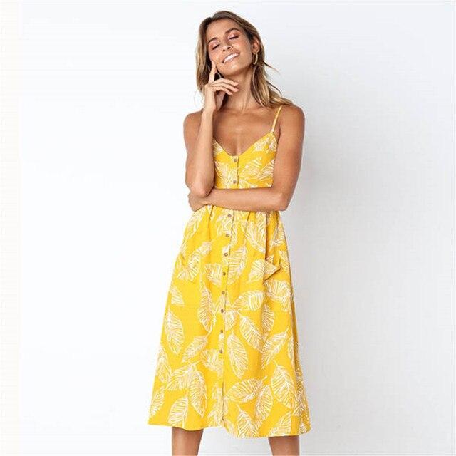 Plus Size Sunflower Print Button Beach Dress Women S-3XL Pocket Midi Dress Sexy Slip Dress Ladies Vestido 4