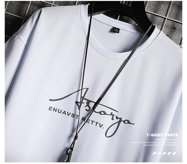 Men Sets White Fashion Hip Hop Tracksuits Male T Shirts Shorts Two Pieces Sports Tee Shirts Shorts Men's Track suit Oversize 4XL 3