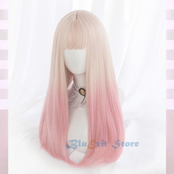 Graduação bege rosa lolita peruca harajuku doce sakura longa reta cores misturadas franja de cabelo sintético franja franja franja diário adulto meninas