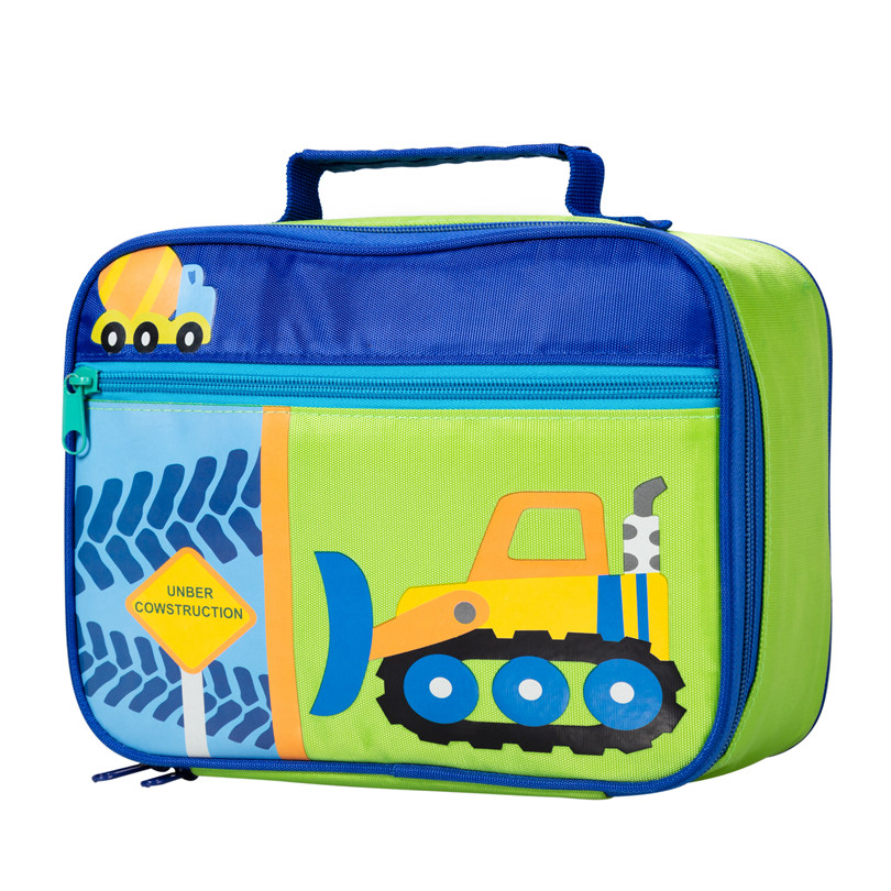 Heopono Hot Selling Nylon Zippered Boys Girls Cooling Bag Cute Children Emboss 3D Printing Lunch Bag Kids Cartoon Lunch Box Bag