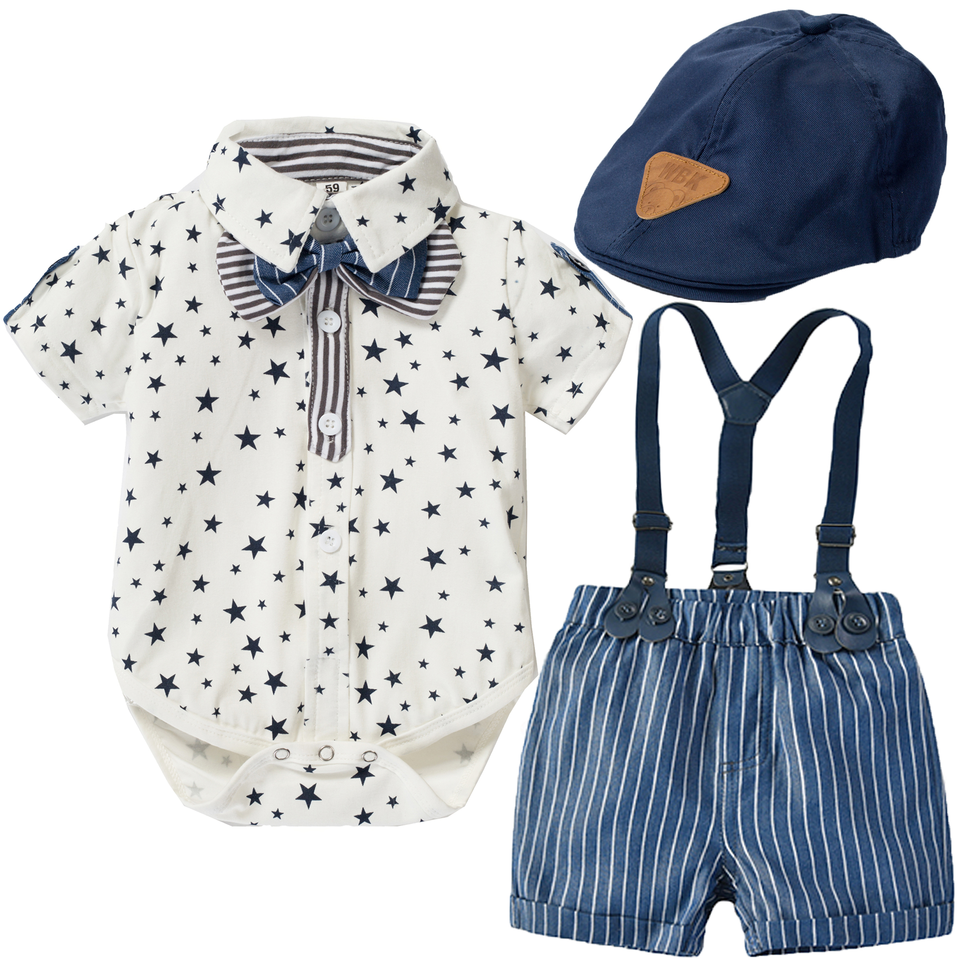 Boys Romper Clothes Suit Formal Newborn Baby Toddler Boys Clothes Stars Summer Gentleman Hat + Jumpsuit + Suspenders Shorts