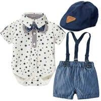 Pelele para niño, ropa Formal para recién nacido, ropa para niño pequeño, sombrero de caballero con estrellas, mono y pantalones cortos con tirantes