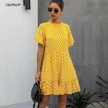 Black Dress Polka-dot Women Summer Sundresses Casual White Loose Fit Clothes Fre