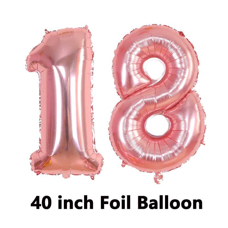 Balony urodzinowe różowe złoto balon foliowy 18 dekoracje na imprezę urodzinową dla dorosłych 18. Dekoracja na urodziny balony numer Ballon