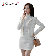 Foamlina Women Fashion Autumn Two Pieces Set White Plaid O Neck Long Sleeve Pearl Buttons T