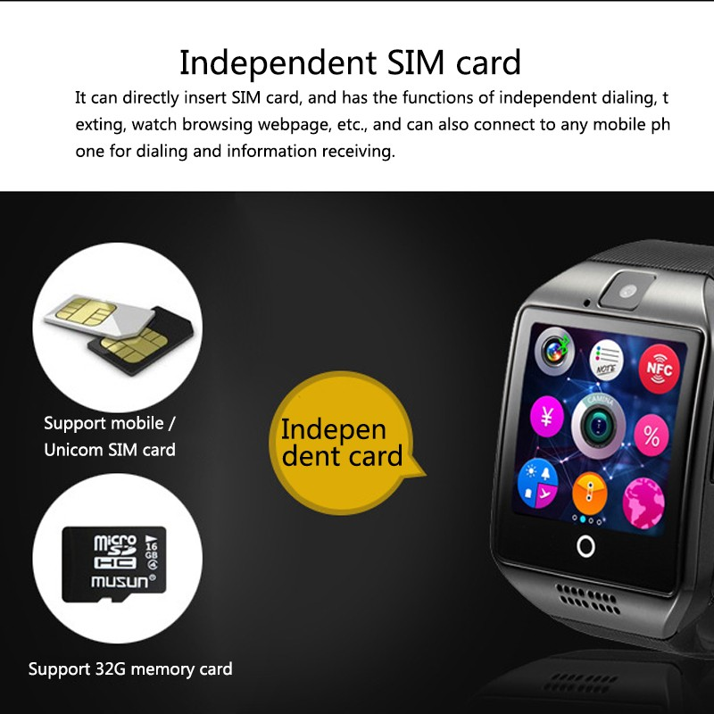 H79926fa4c81647b2aa9d7ee481cd59eaI Q18 Digital Touch Smart Watch With Sim Call Bluetooth Call Square Smartwatch Fit Watch Sport Pedometer Whatsapp Bracelet