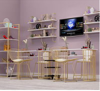 Golden Marble Nail Table and Chair Single Double Table Manicure Table Nail Shop Table and Chair Set Combination
