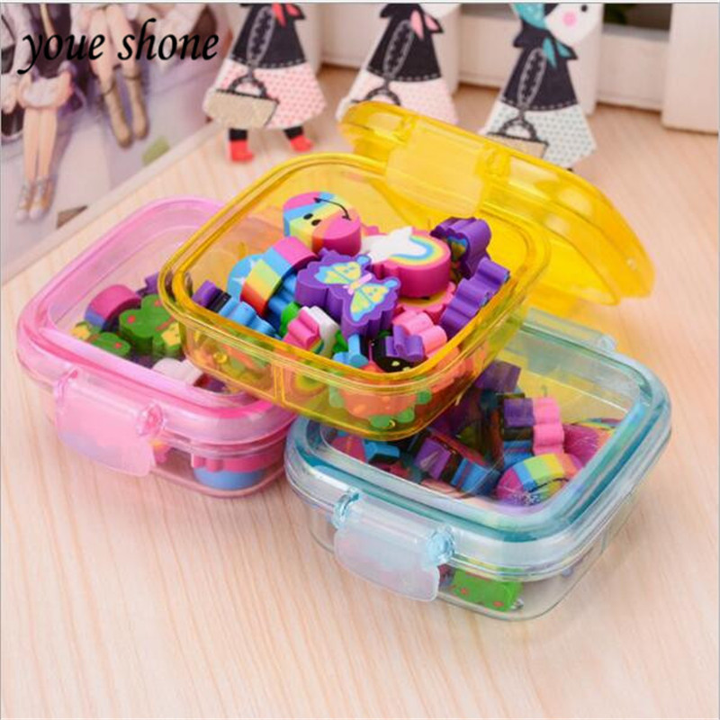 20pcs/boxes Erasers For Kids Sets New Cartoon Square Box Rubber Eraser For Pencil Cute Shool Stationery Delicate Rubber