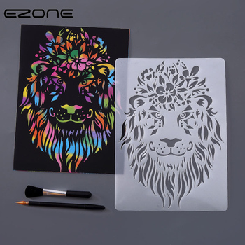 EZONE Animals Drawing Template Ruler Hollow out Stationery Children Figure Painting Scratch Paper
