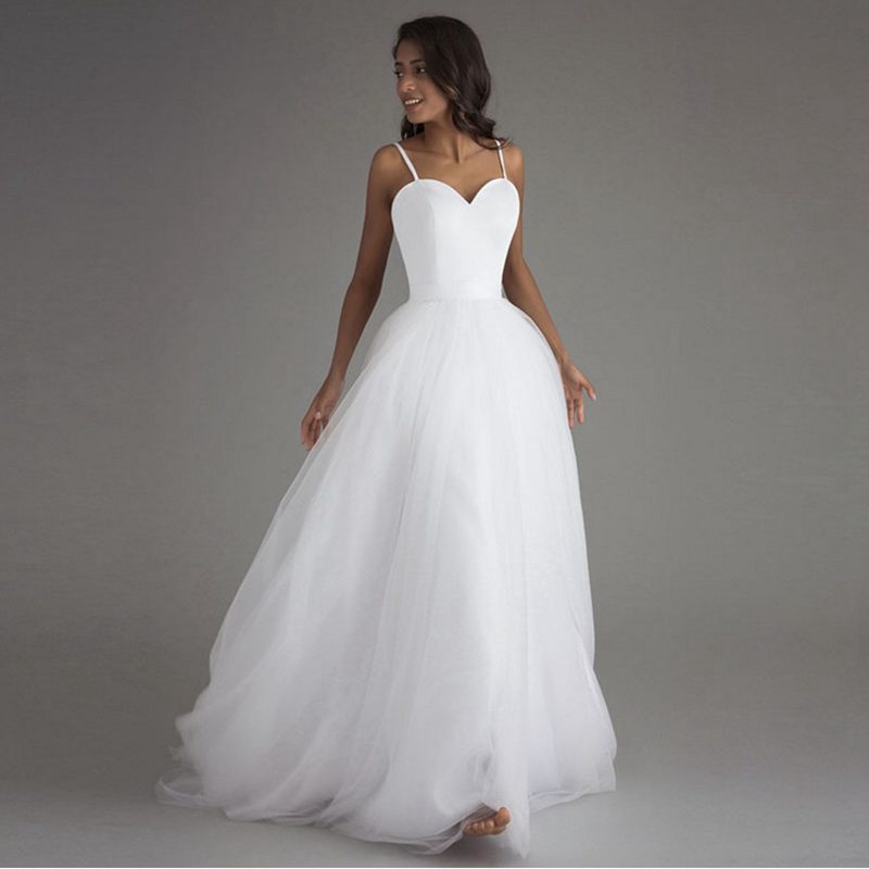 LAMYA Spaghetti Strap Beach Wedding Dresses 2020 Vestido Noiva Praia White Tulle With Sashes Boho Bridal Gown Bride Dress