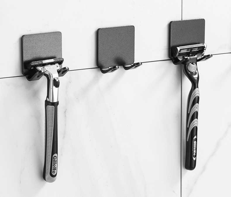 2 Pcs Punch Free Razor Holder Storage Hook Wall Men Shaving Shaver Shelf Bathroom Razor Rack Wall Bathroom Accessories
