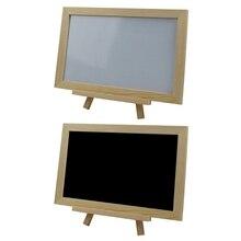 Sign Blackboard Message Wooden Mini Tripod Note-Marker Single-Side