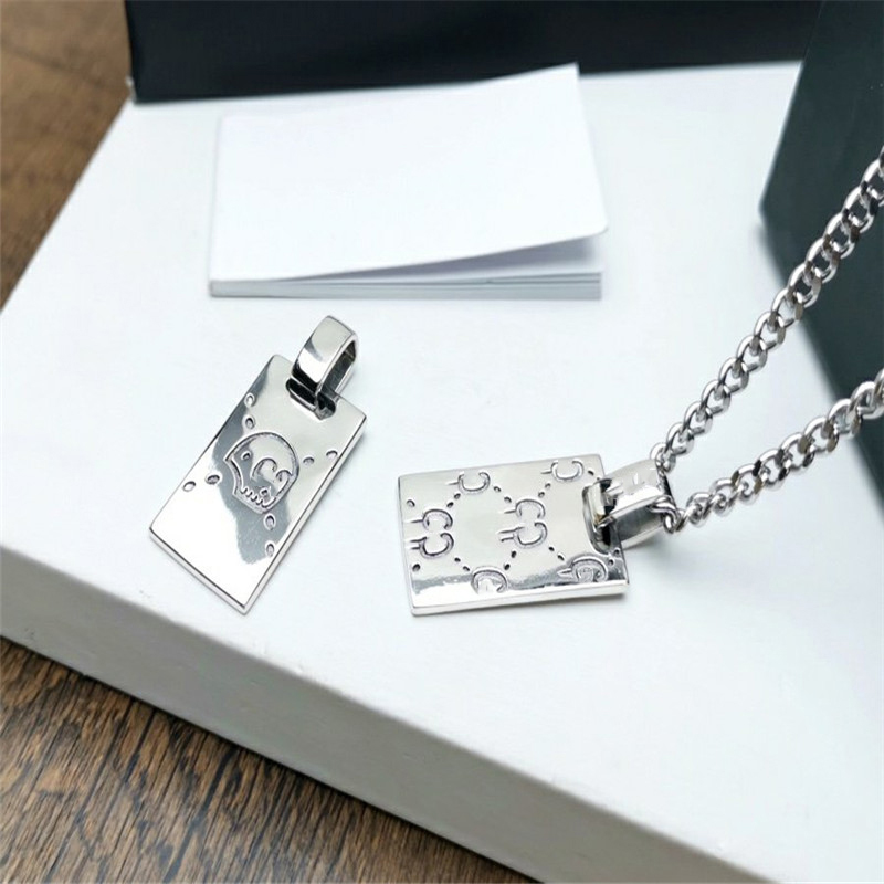 Gucci inspired male and female ghost square pendant