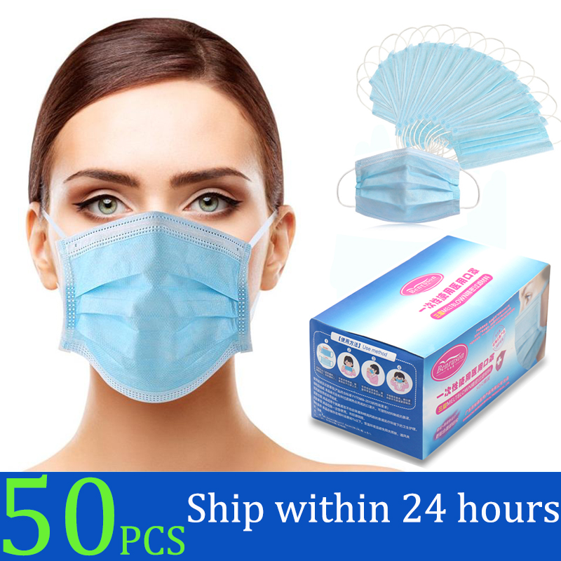 50Pcs/box Disposable Protective Masks 3 Layer Nonwove Ply Filter Mouth Face Mask Anti Dust Anti Fog Earloop Mouth Mask|Masks| |  - title=